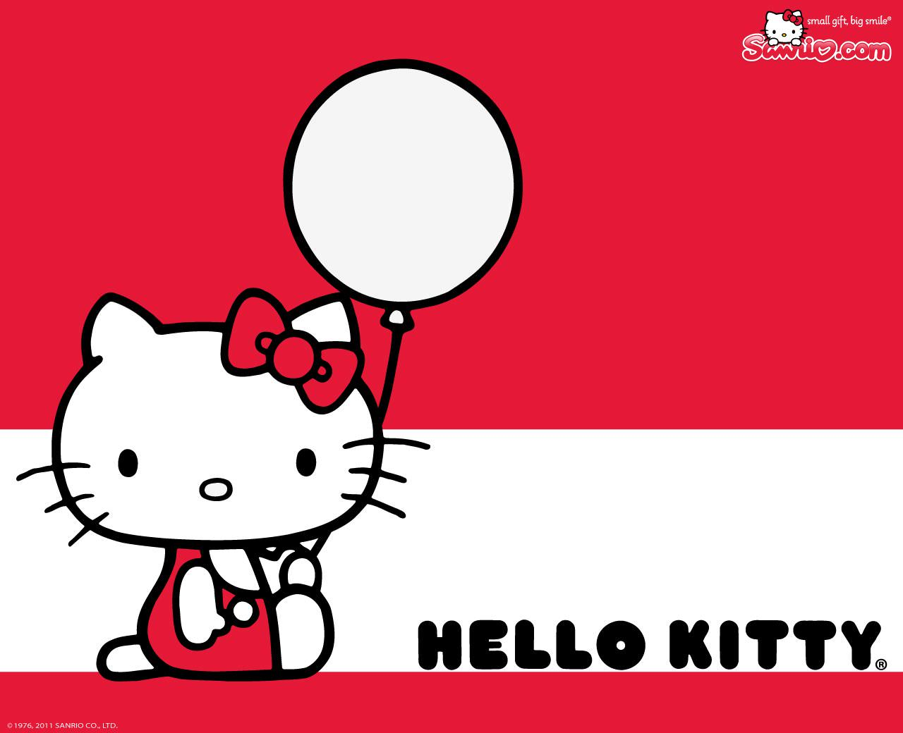 hello kitty with balloon background