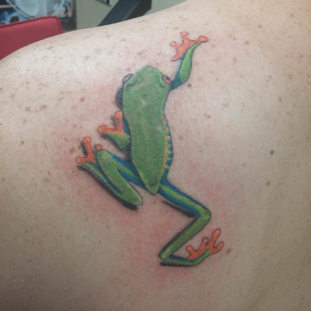 Simple Green Frog Tattoo