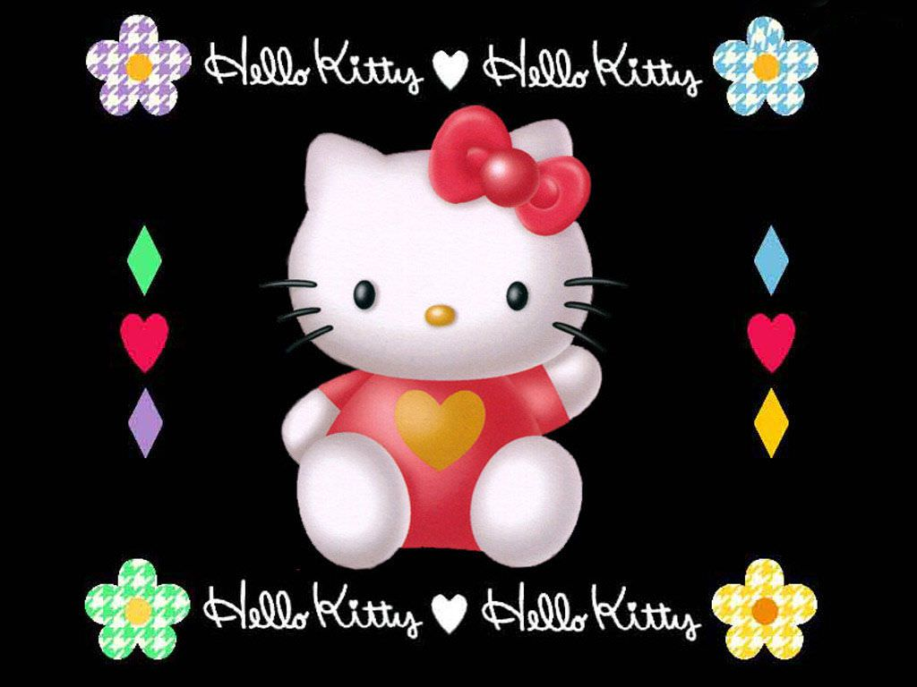 Pink Black White Hello Kitty Wallpaper made by me