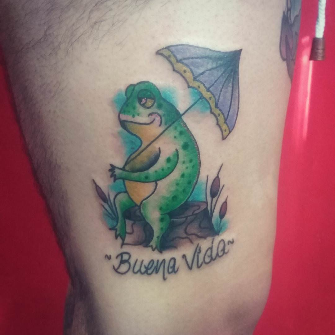 Nice Look-Umbrella Frog Tattoo