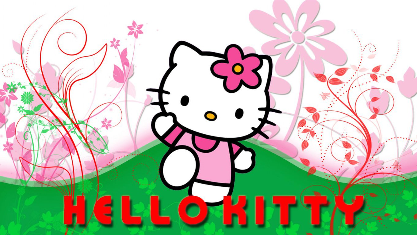 hello kitty with floral design wallpaper