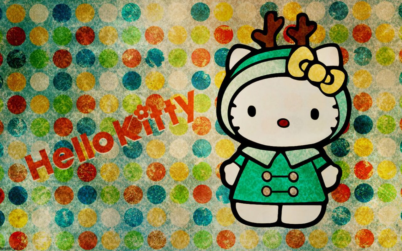 colorful background of hello kitty