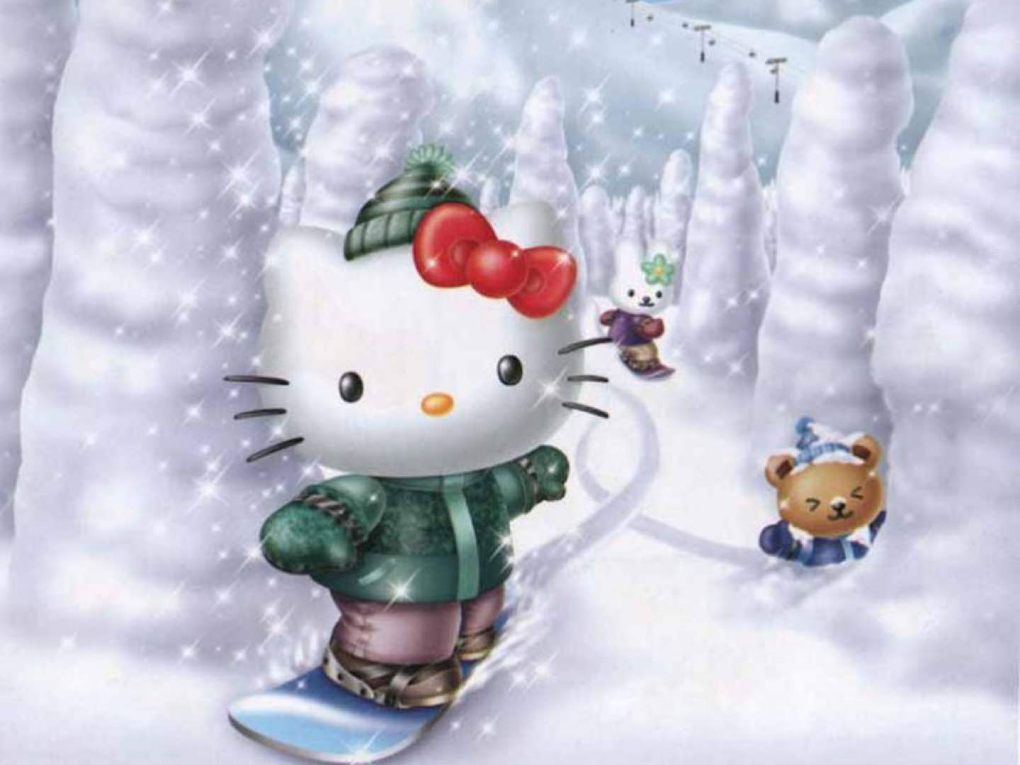 snow with kitty background