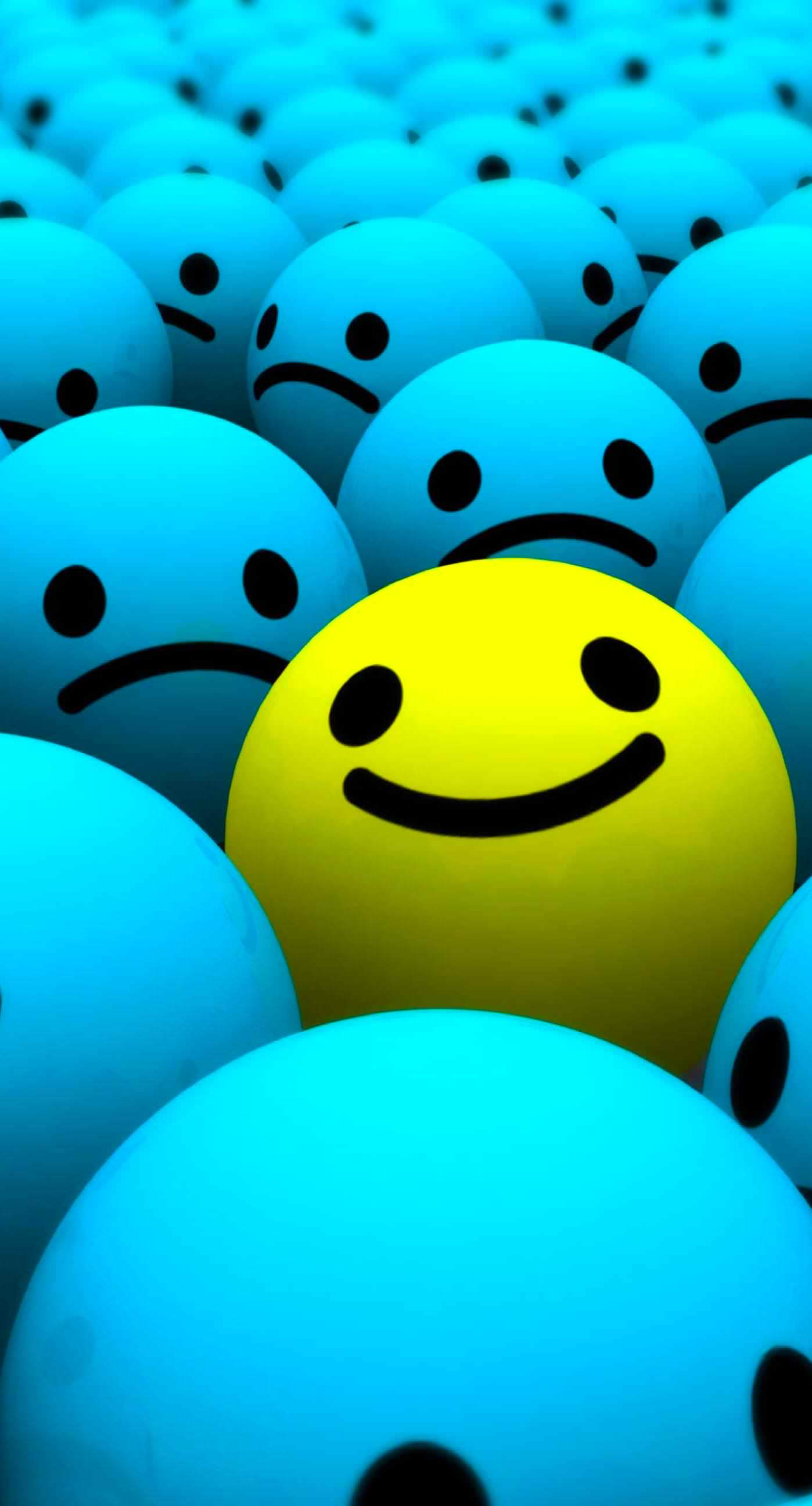 cute blue yellow smiley balls