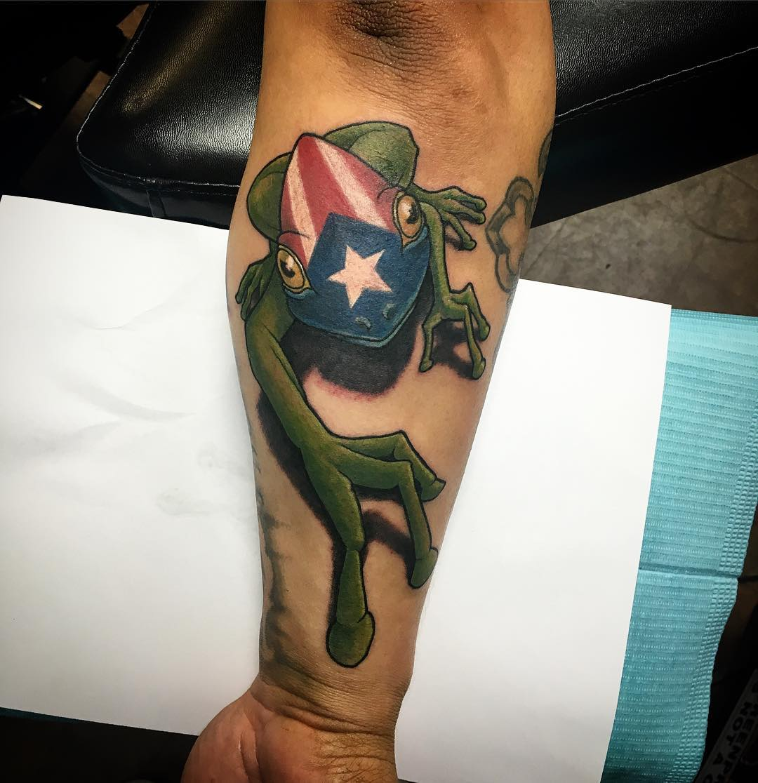 Flag with Frog Tattoo
