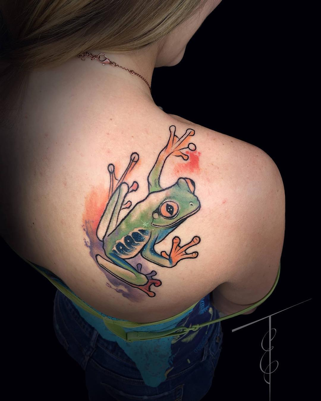 Creative Frog Tattoo for Girls