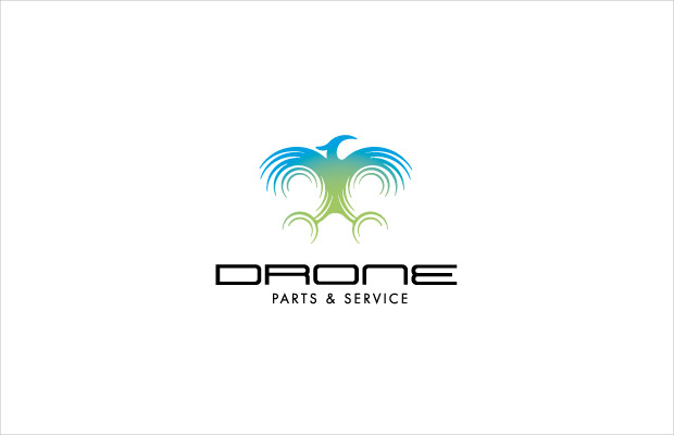 blue and green drone logo design