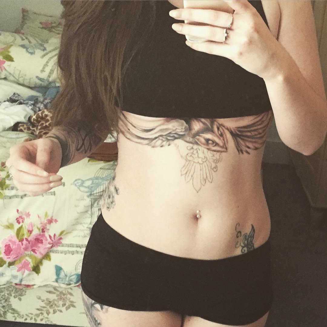 stylish tattoo on hip