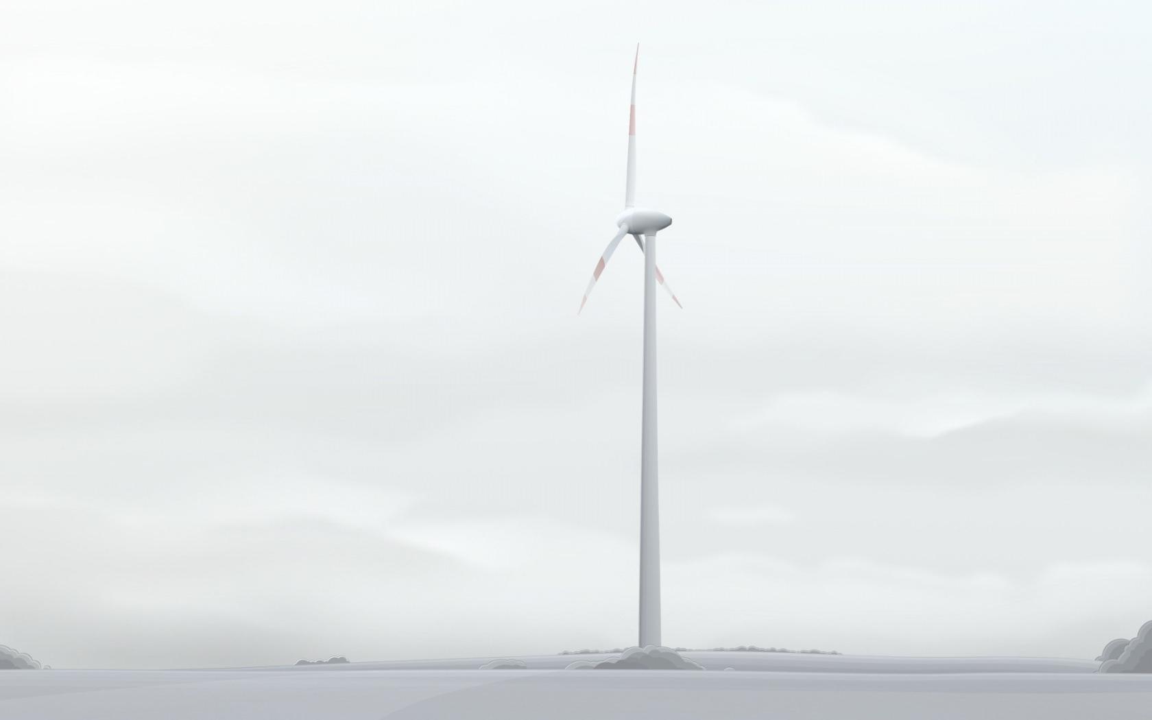 White Wind Mill Background