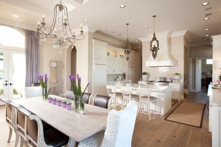 Open Dining Room With Charm Crystal Chandelier