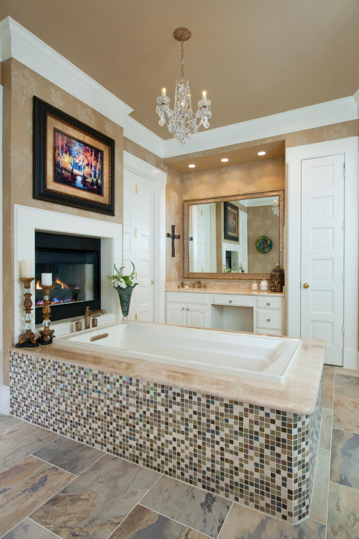 Master Bathroom Features Crystal Chandelier