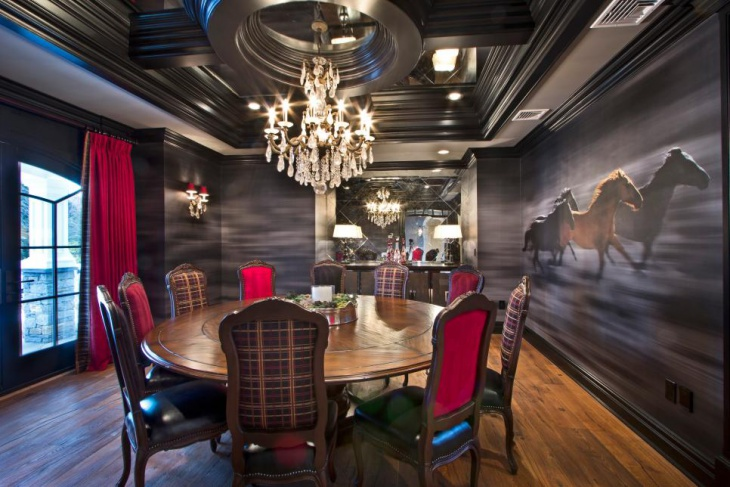 Dark Dining Room With Beautiful Crystal Chandelier
