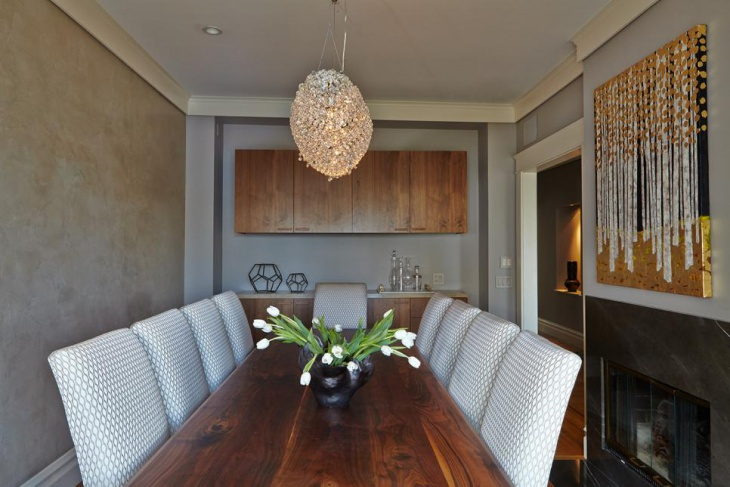 Contemporary Dining Room With Crystal Encrusted Chandelier