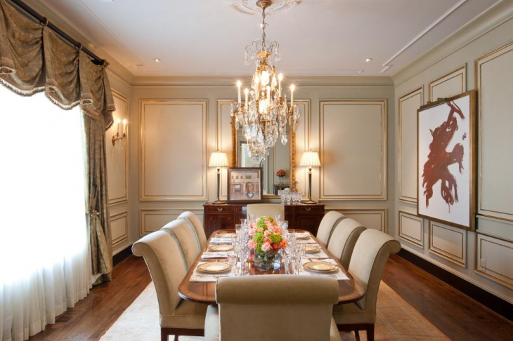Formal Dining Room With Designed Chandelier