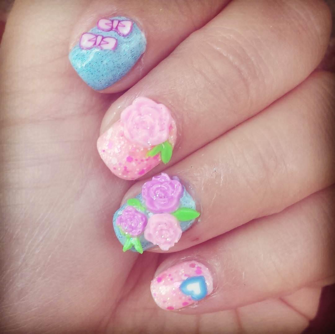 Rose Floral Nail Design