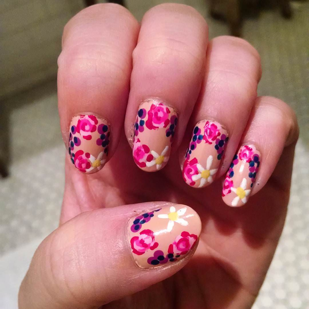 Pink & Red Floral Nail Design