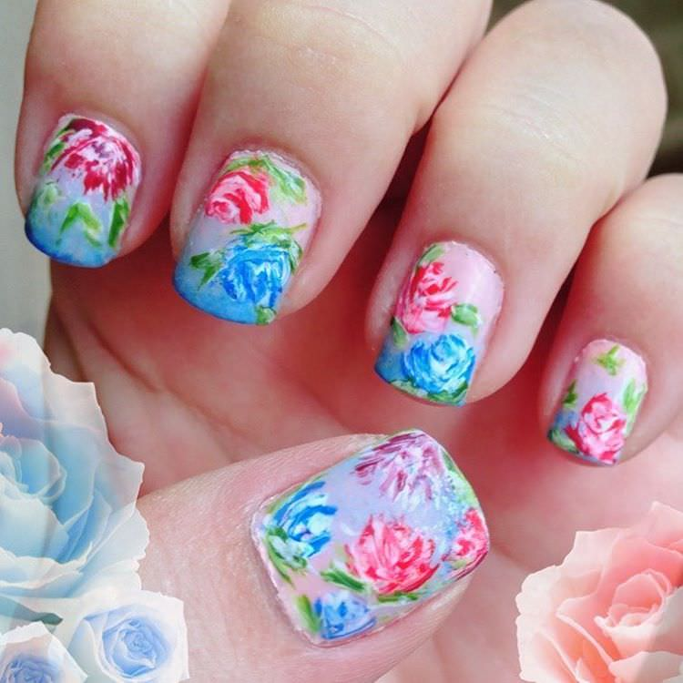 painted floral nail design
