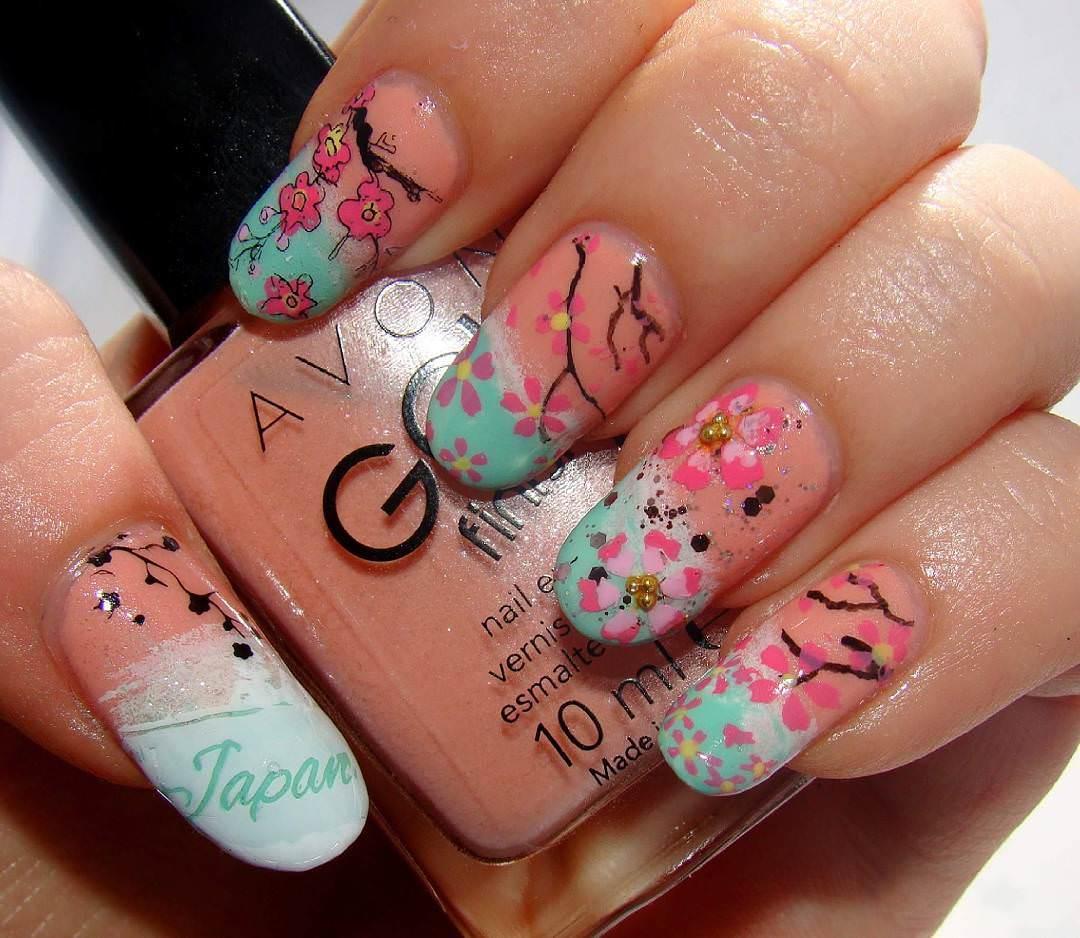 Long Floral Nail Design