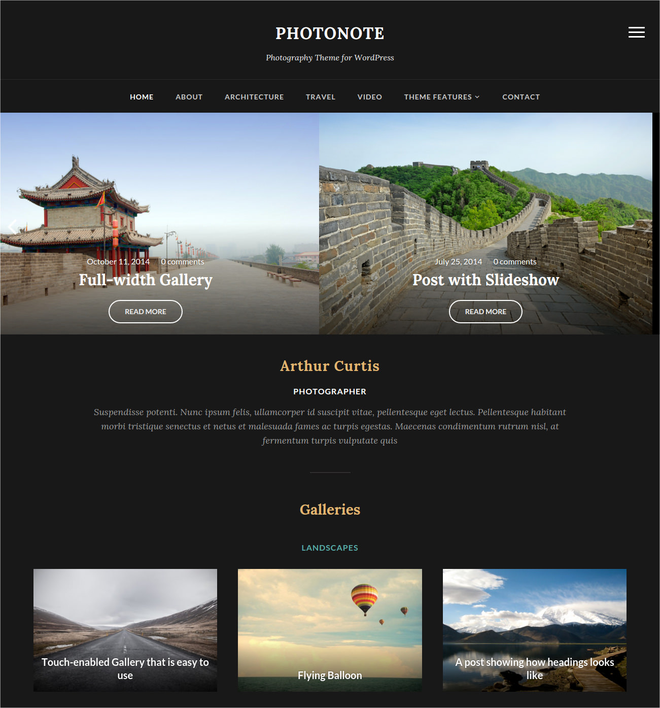 Photographer Gallery WP Theme