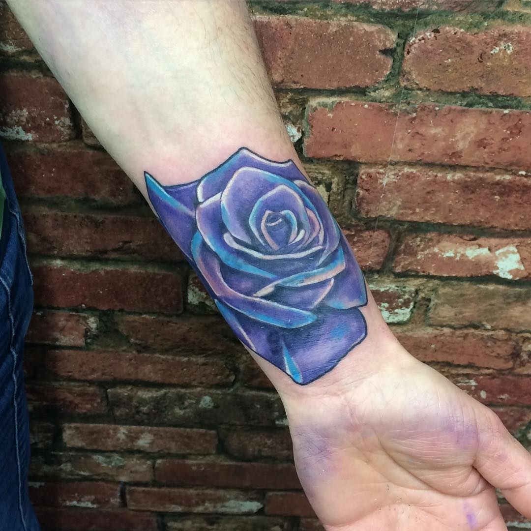 Purple Rose Tattoo Design