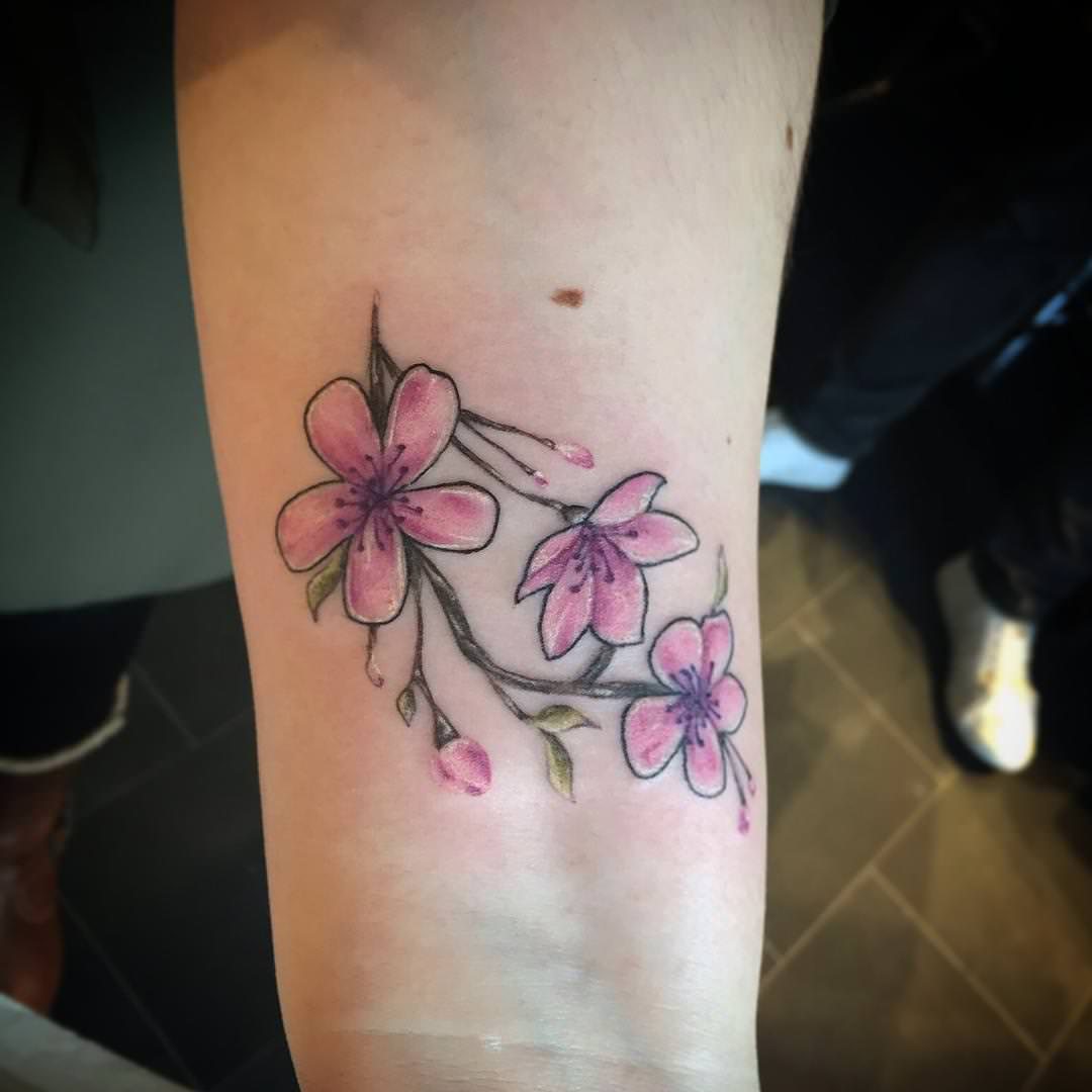 pink flowers tattoo design