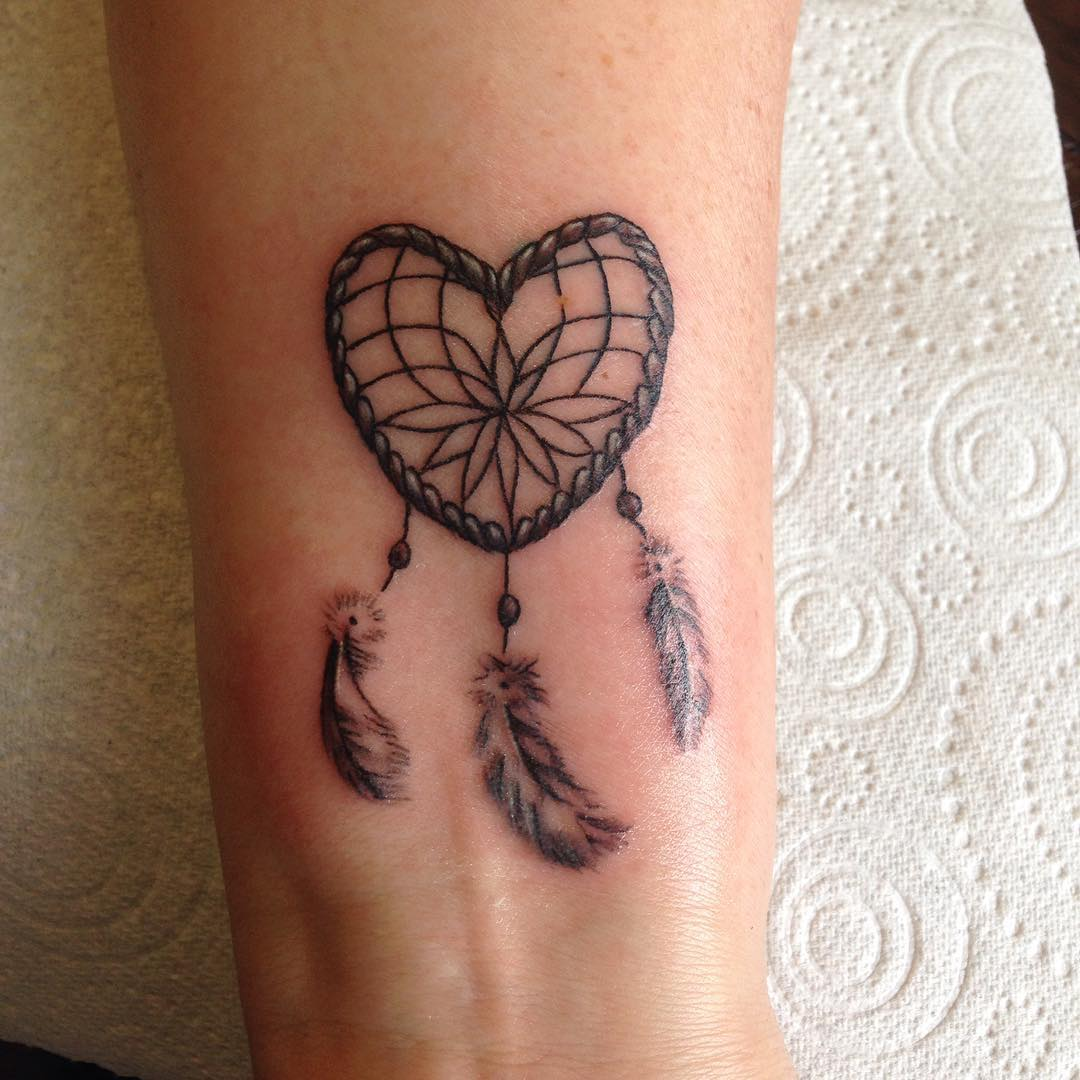 Heart With Feather Tattoo Design
