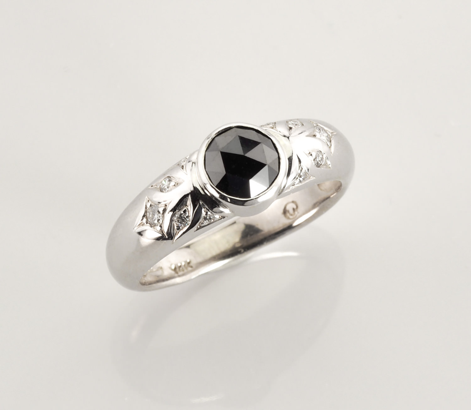 Rosecut Black Diamond Ring