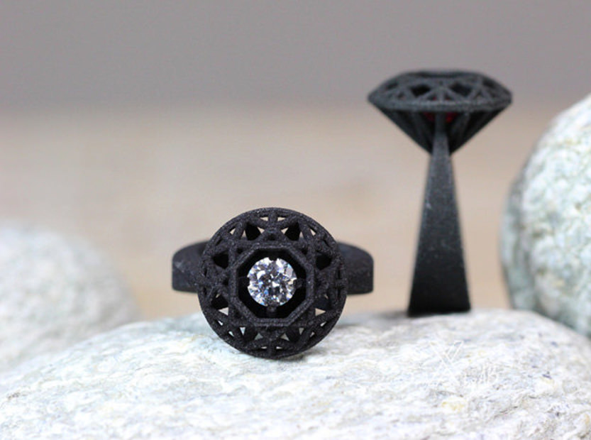 Black 3D Printed Rings