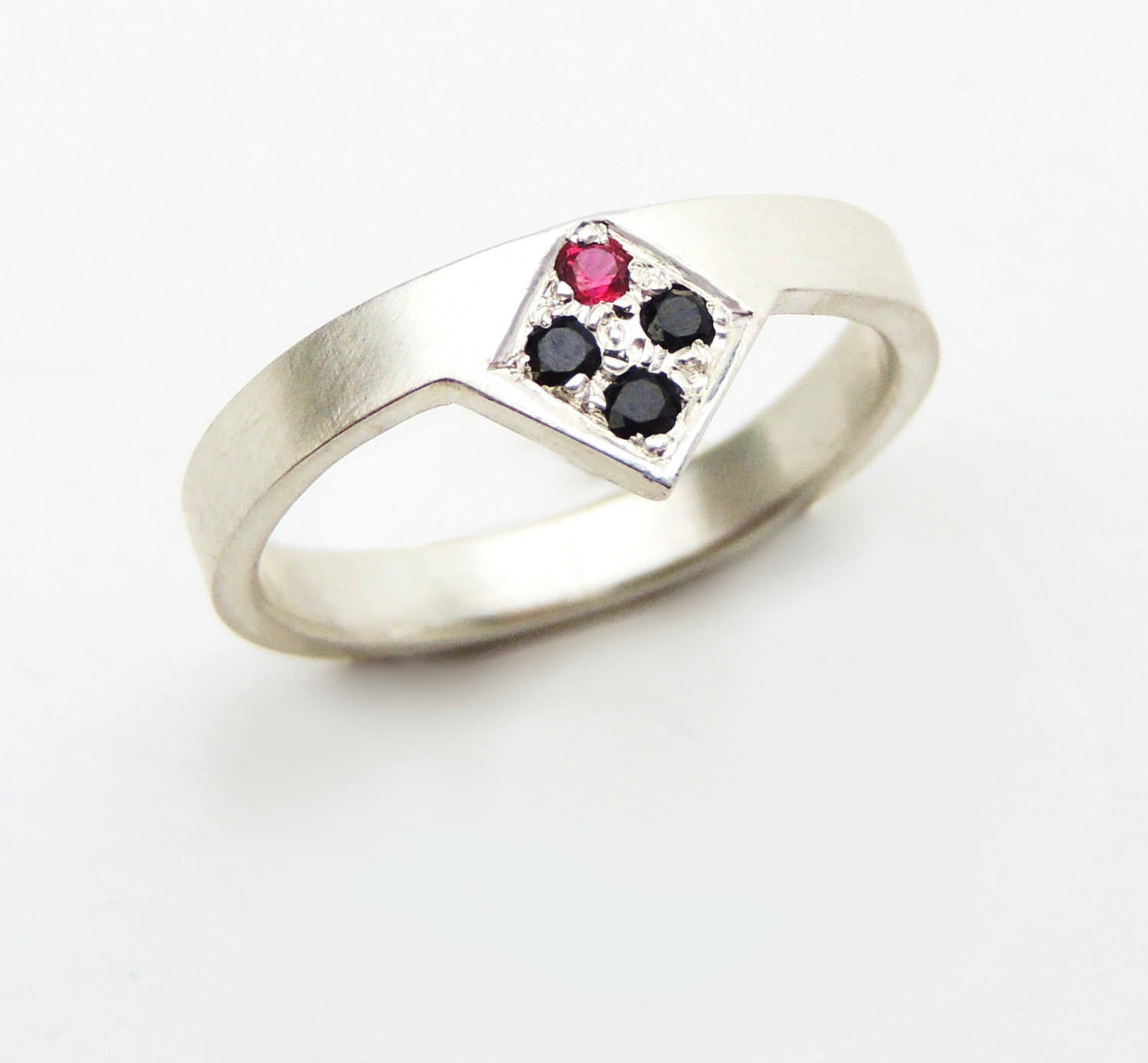 Black Diamond and Ruby Ring- Geometric Ring
