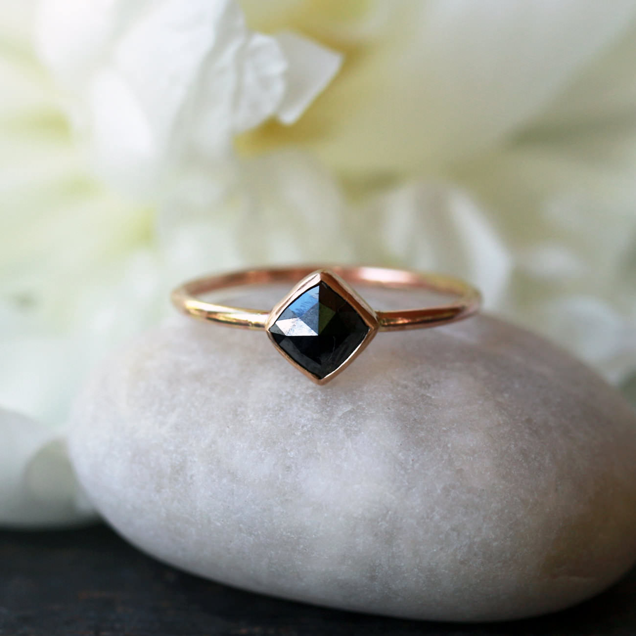 Square Rose Cut Black Diamond Ring