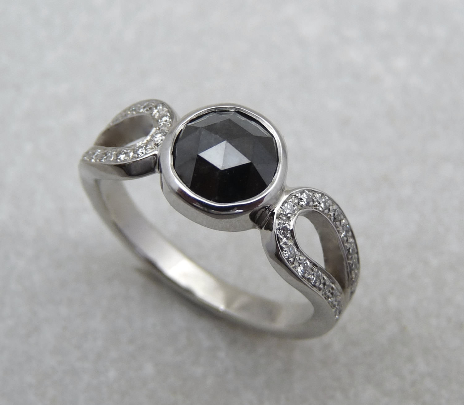 black gemstone white gold ring
