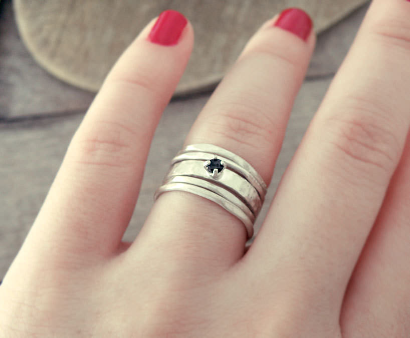 Black Spinel Ring-Raw Diamond Ring