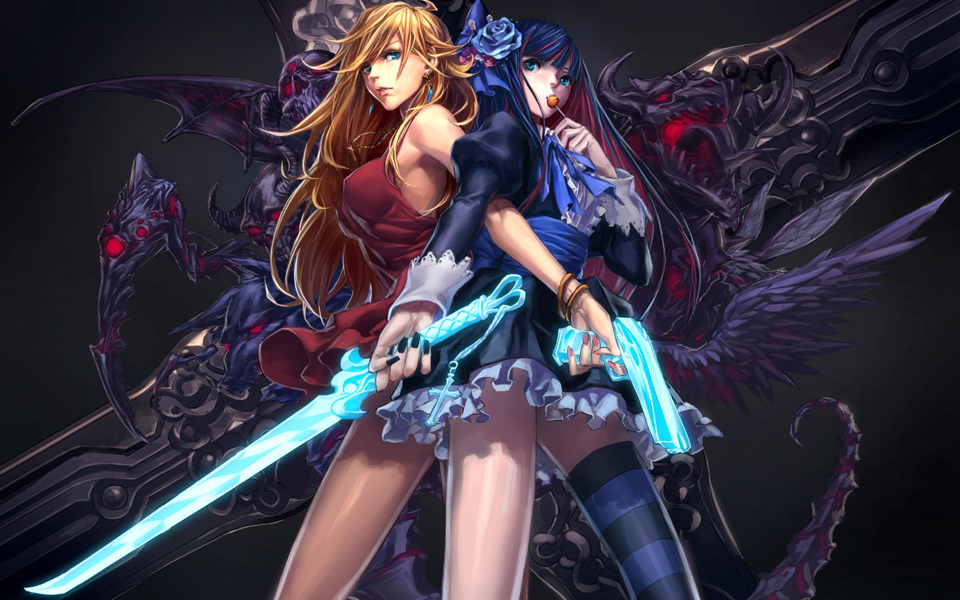 Anime Girls with Weapons Wallpaper