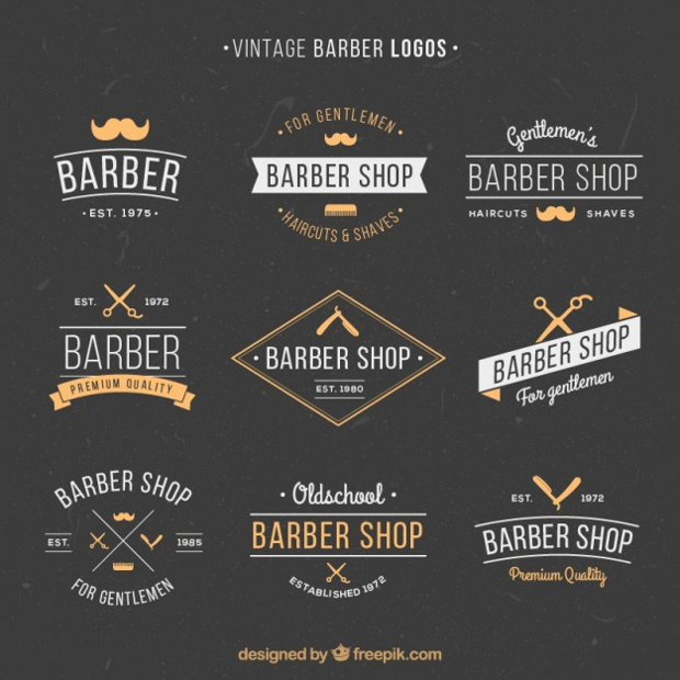 hand drawn vintage barber logo