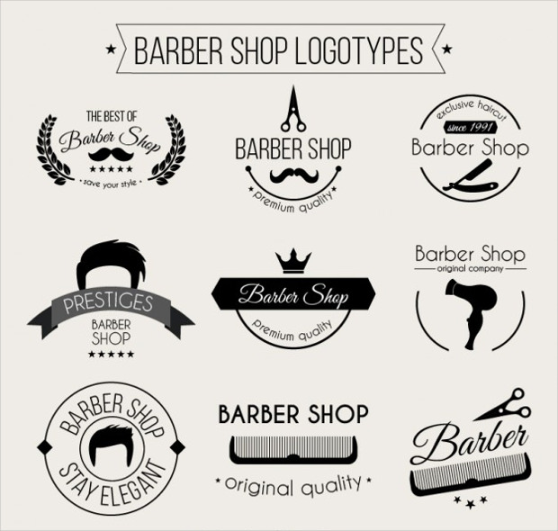 monochromatic barber shop logo