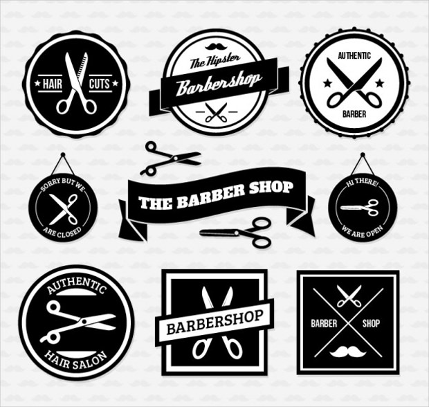 retro style barber shop badges logo