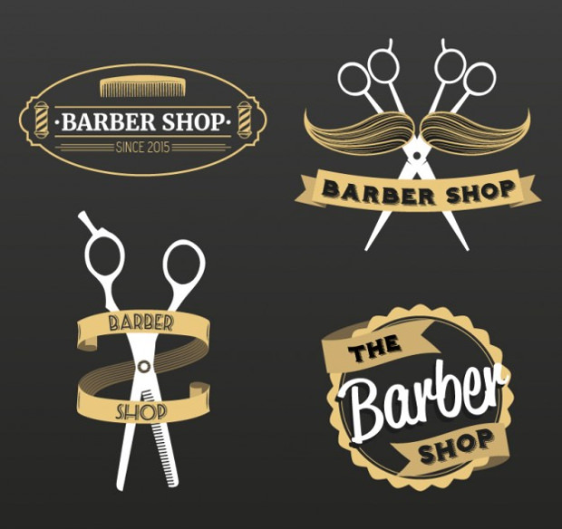 set of barber shop classy logos
