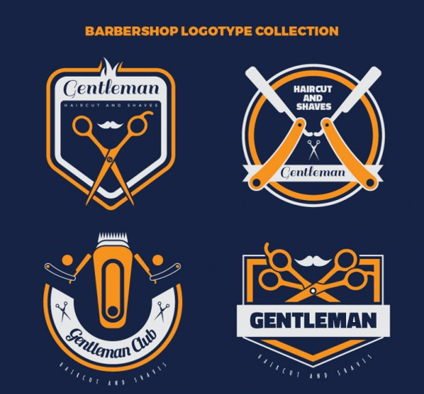 collection of vintage barber logos
