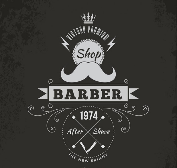 barber badge logo design