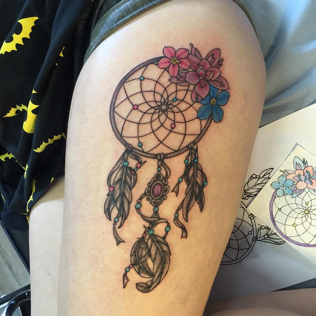 Dream Catcher Tattoo In Tribal Art