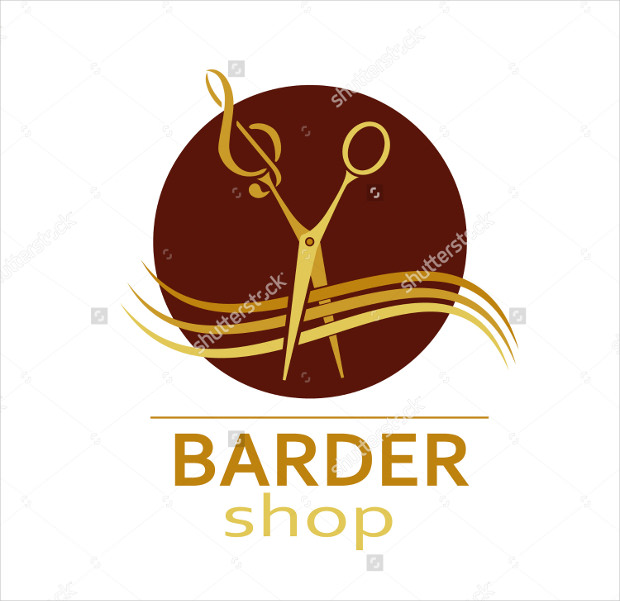 Red and gold Barber Logo