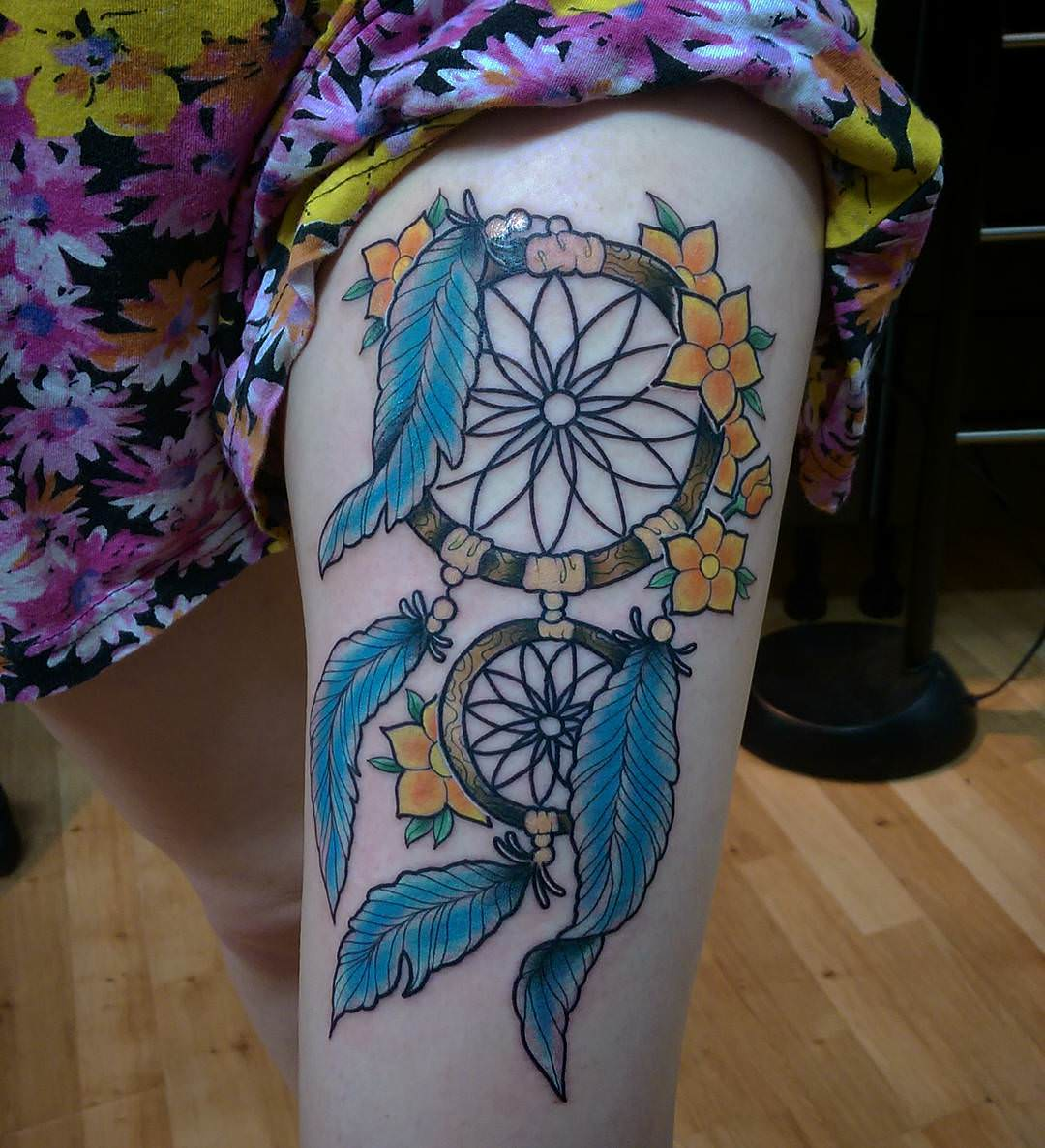 Thigh Dream Catcher Tattoo Ideas
