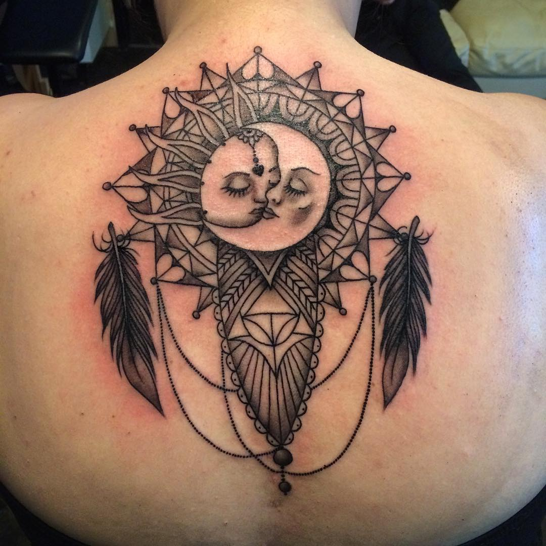 Sun And Moon Dream Catcher Tattoo