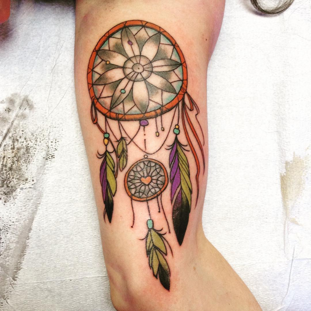 Multi Color Dream Catcher Tattoo