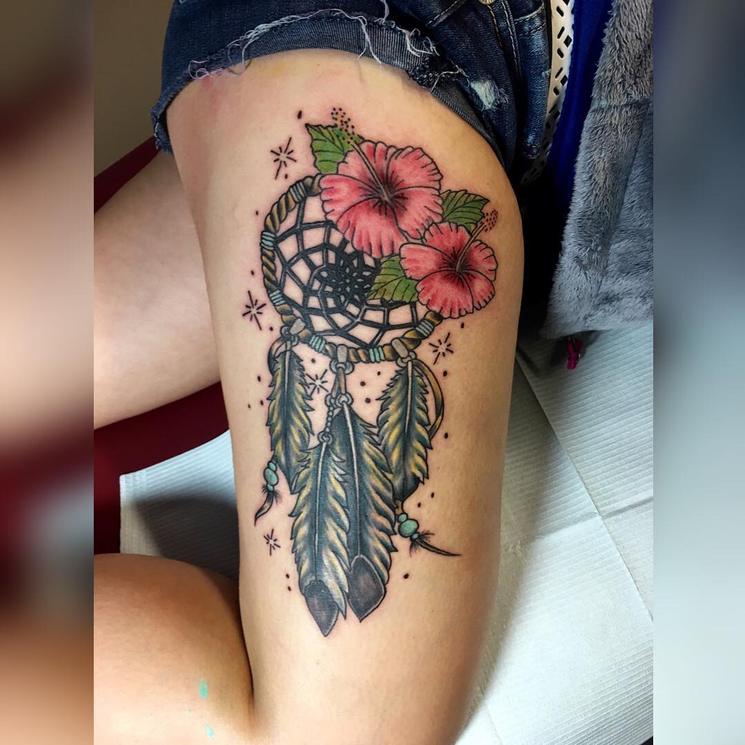 Dream Catcher Design With Flowers Tattoo