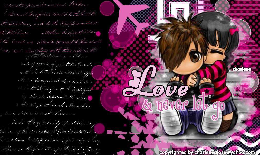 Cute Emo Love anime Background wallpaper