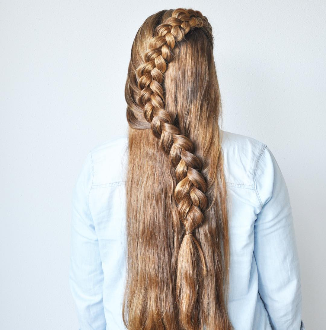 Long Half Dutch Braid
