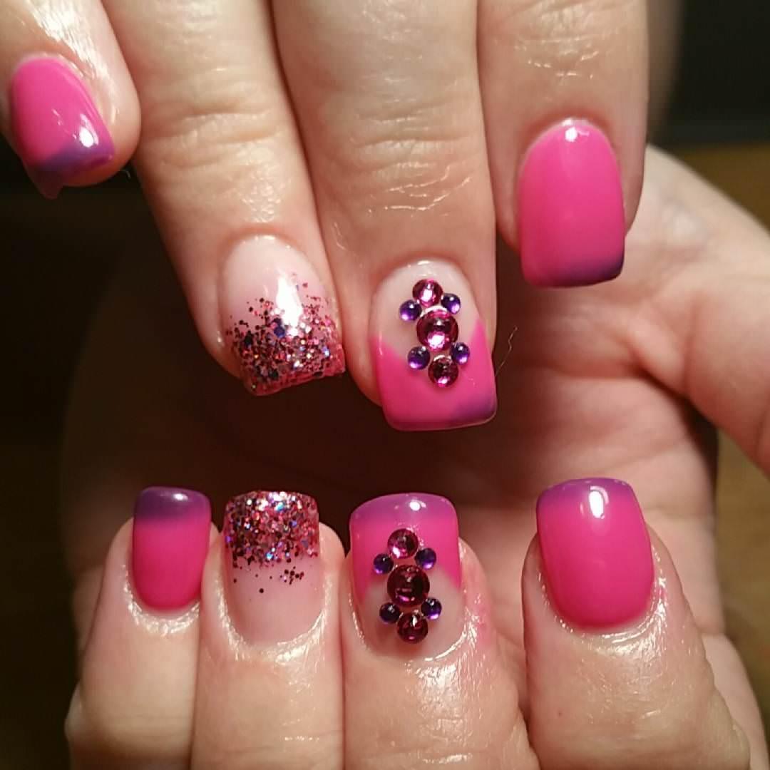 lovely pink acrylic nail art