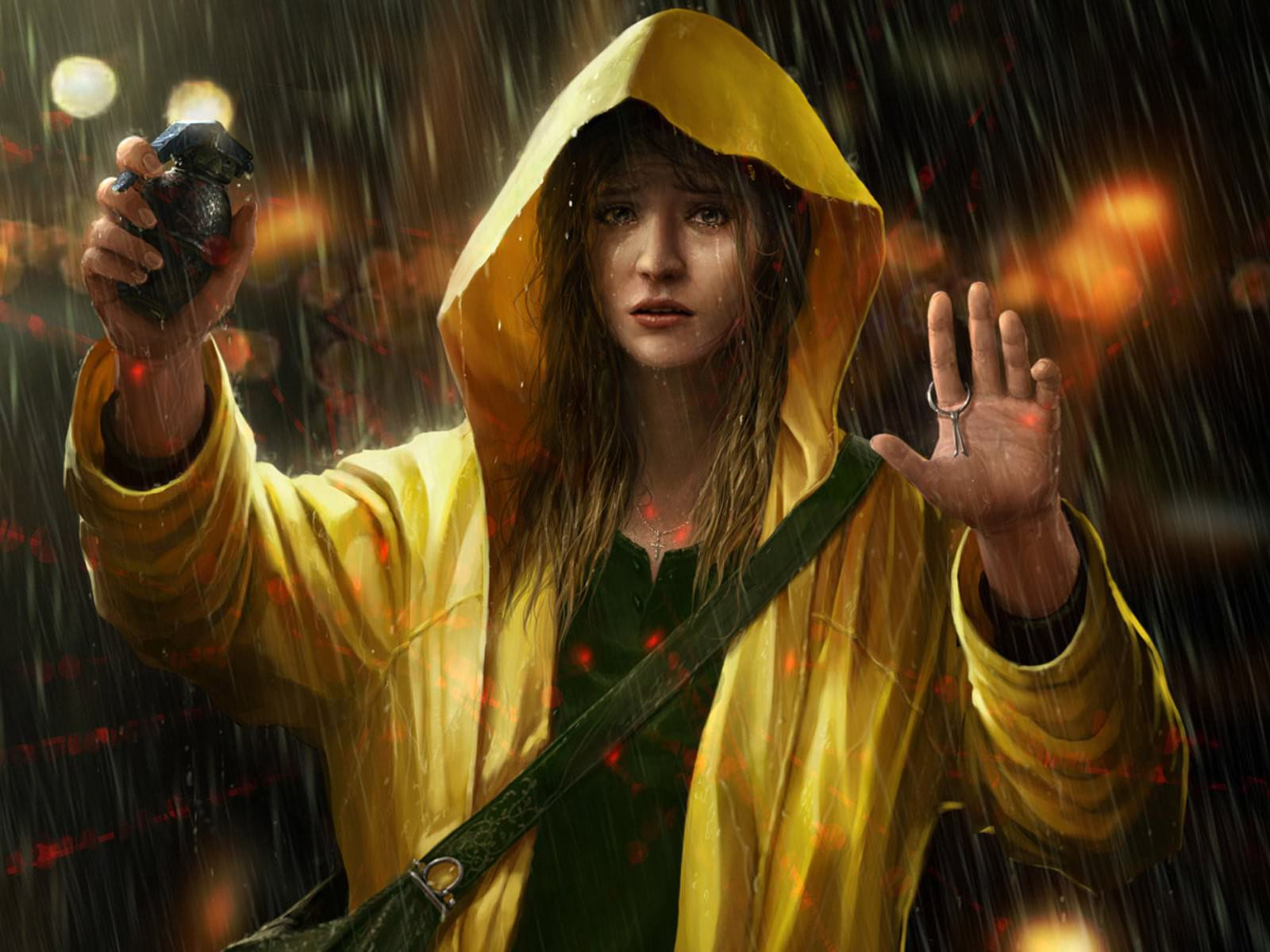Emo Background of Women with Weapon in Rain