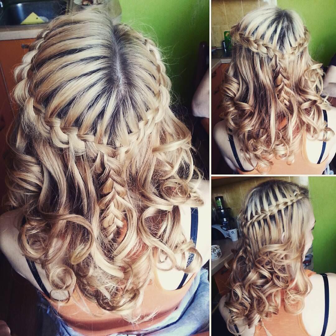 curls waterfall braid